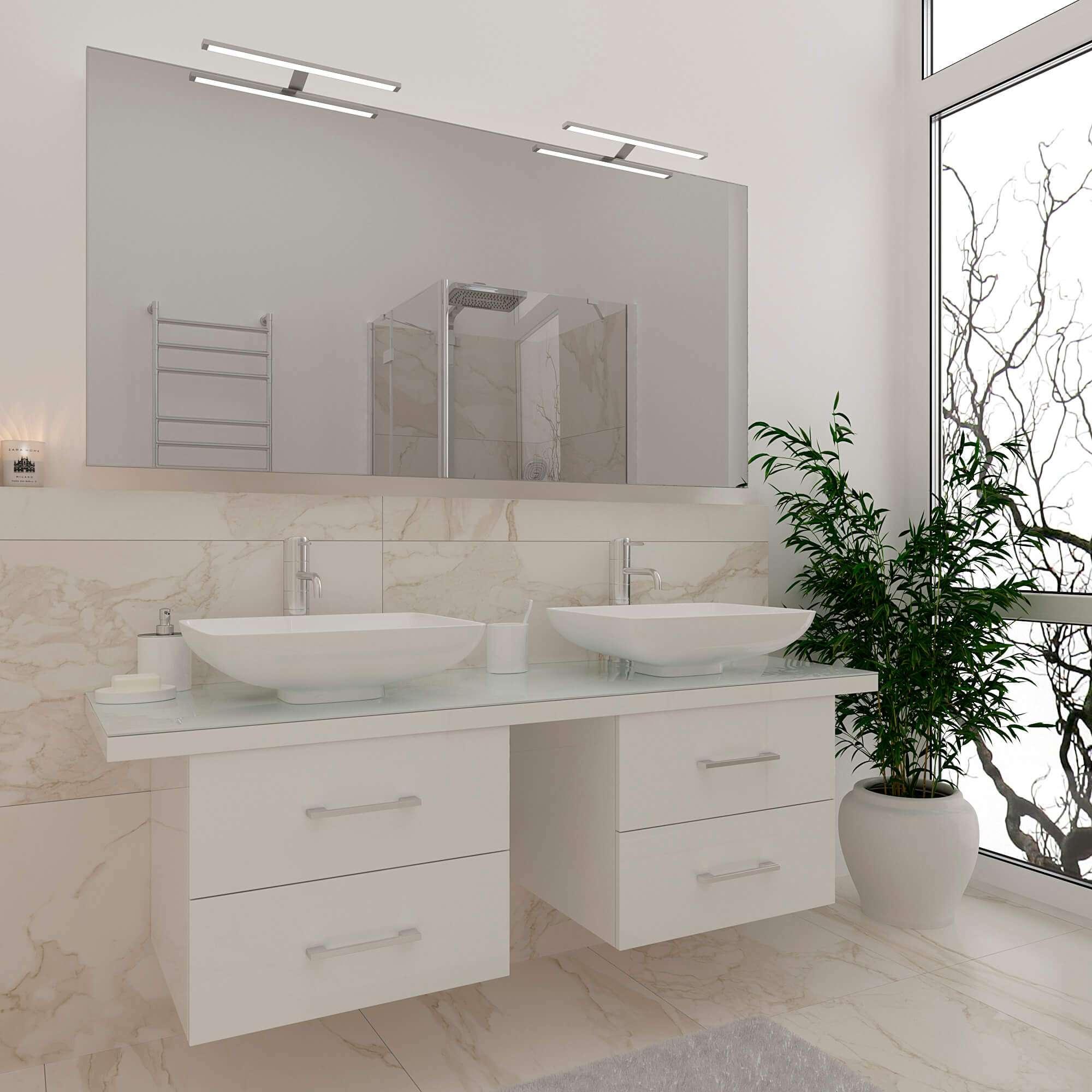Комплект мебели в стиле модерн на 2 умывальника MATTIAS (Маттиас) Marsan (Марсан), в белом цвете.