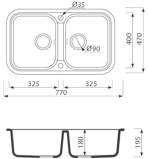 мойка гранитная кухонная Argo GEMELLI 770х470х190