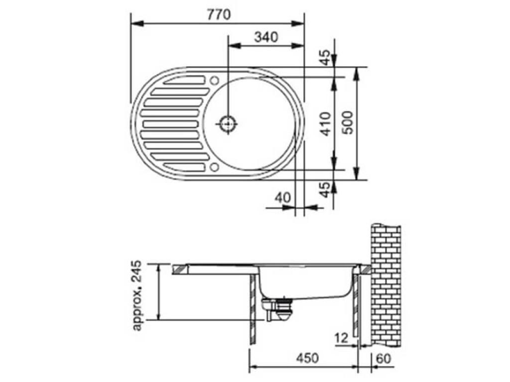 чертежи мойки для кухни Argo ALBERO 770х500х200