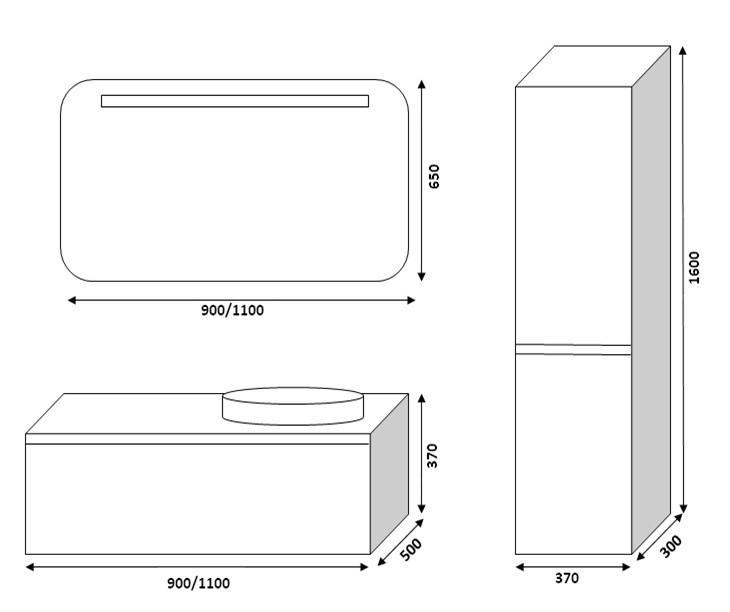 Комплект мебели RIGITTE (Бриджит) Марсан в чертежах