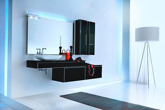 мебель в ванную под заказ: черная современная тумба с пеналом подвесным