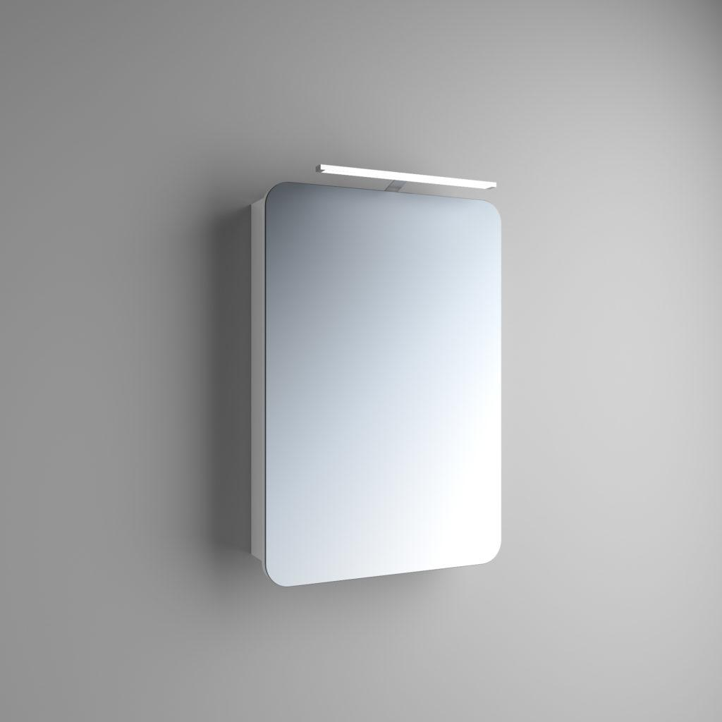Зеркальный навесной шкаф с ЛЕД подсветкой для ванной комнаты Адель 1 (Marsan) выполнено из крашенного МДФ