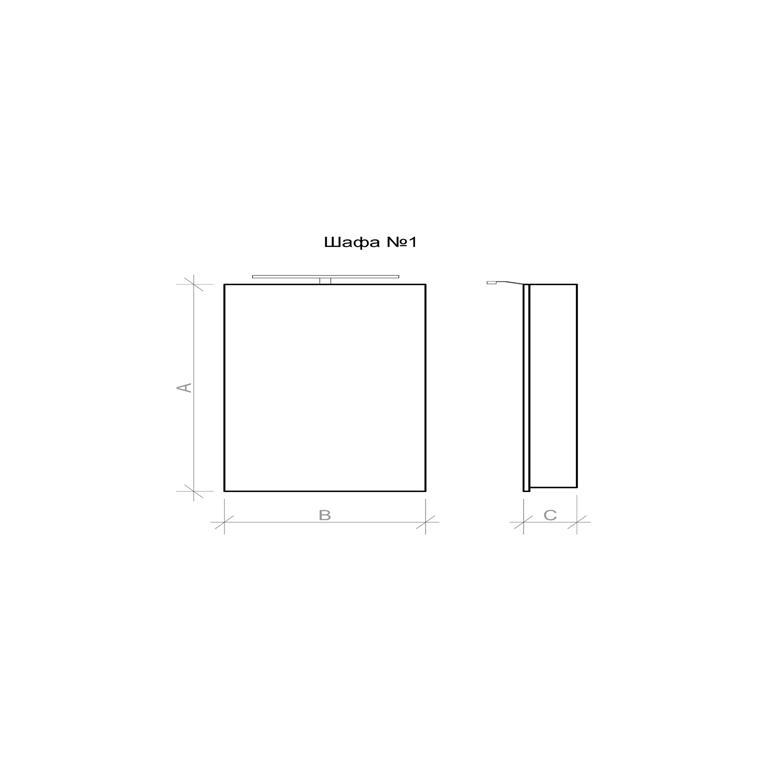 Габаритные размеры подвесного шкафа Адель-1 (ADELE-1) от Марсан | Rodecs.com.ua